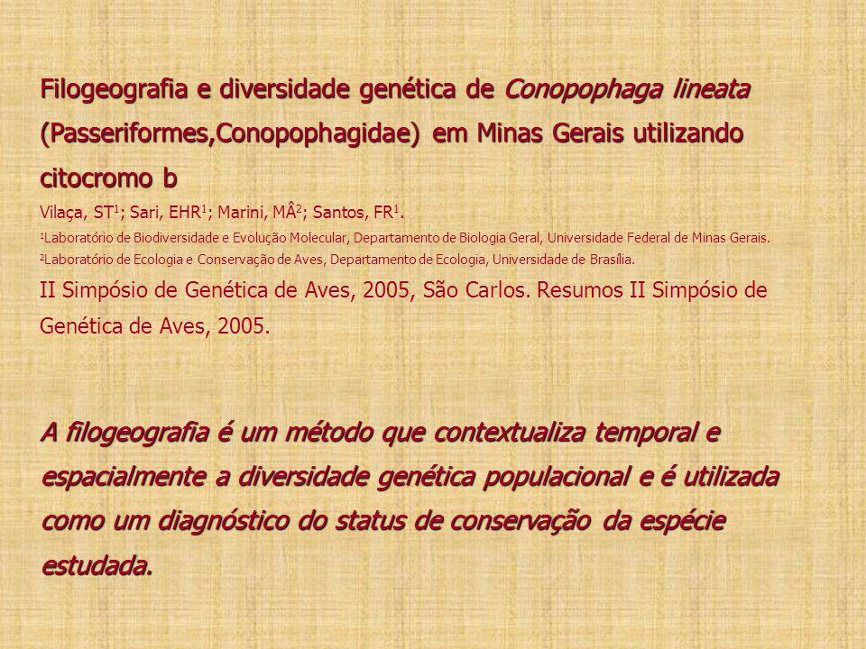 Filogeografia e diversidade genética de Conopophaga lineata (Passeriformes,Conopophagidae) em Minas Gerais utilizando citocromo b A filogeografia é um