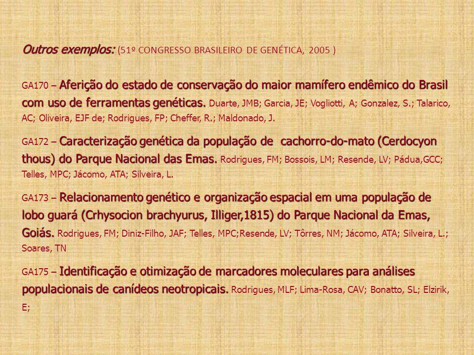 Outros exemplos: Aferição do estado de conservação do maior mamífero endêmico do Brasil com uso de ferramentas genéticas. Caracterização genética da p