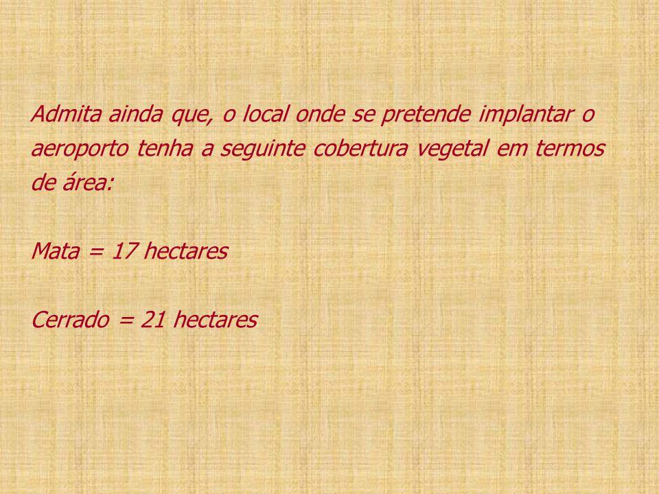 Admita ainda que, o local onde se pretende implantar o aeroporto tenha a seguinte cobertura vegetal em termos de área: Mata = 17 hectares Cerrado = 21 hectares