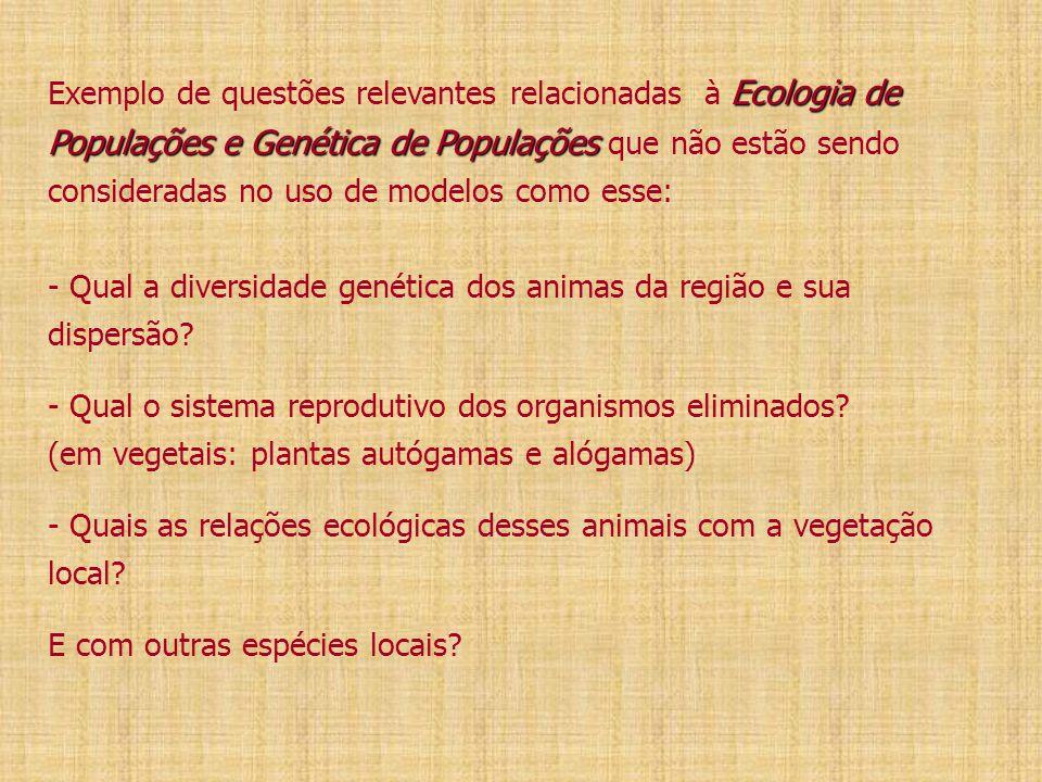 Ecologia de Populações e Genética de Populações Exemplo de questões relevantes relacionadas à Ecologia de Populações e Genética de Populações que não estão sendo consideradas no uso de modelos como esse: - Qual a diversidade genética dos animas da região e sua dispersão.