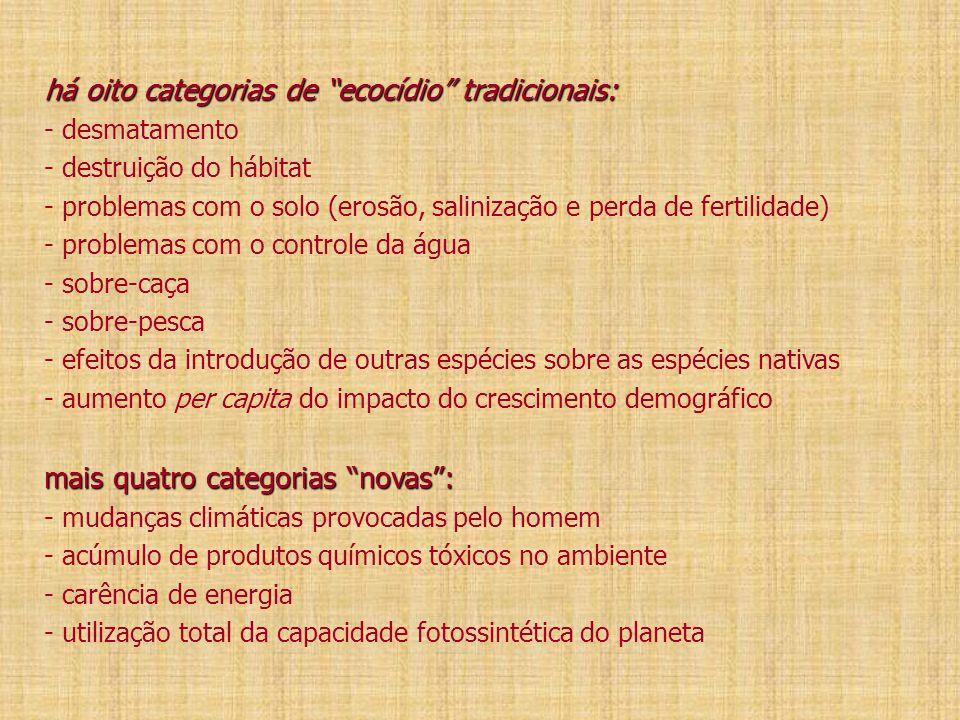 """há oito categorias de """"ecocídio"""" tradicionais: mais quatro categorias """"novas"""": há oito categorias de """"ecocídio"""" tradicionais: - desmatamento - destrui"""