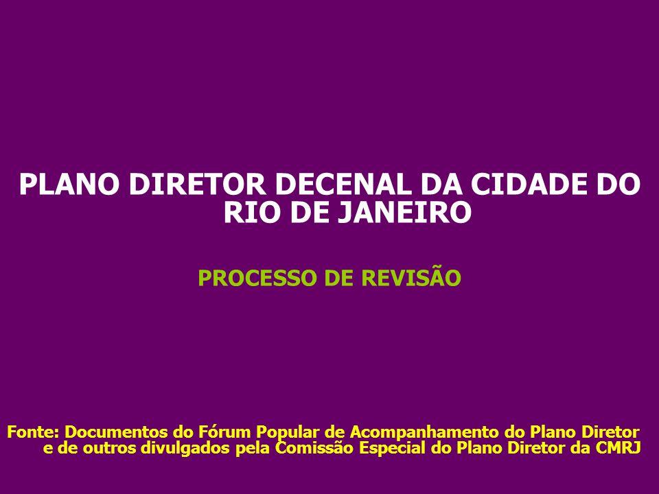 PLANO DIRETOR DECENAL DA CIDADE DO RIO DE JANEIRO PROCESSO DE REVISÃO Fonte: Documentos do Fórum Popular de Acompanhamento do Plano Diretor e de outro
