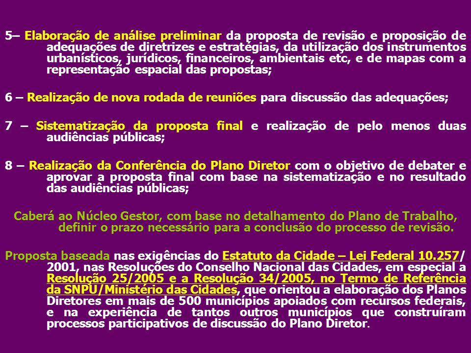 5– Elaboração de análise preliminar da proposta de revisão e proposição de adequações de diretrizes e estratégias, da utilização dos instrumentos urba