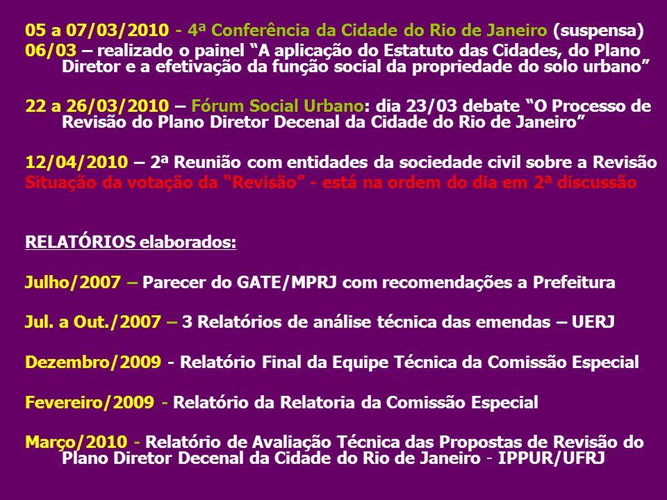 """05 a 07/03/2010 - 4ª Conferência da Cidade do Rio de Janeiro (suspensa) 06/03 – realizado o painel """"A aplicação do Estatuto das Cidades, do Plano Dire"""