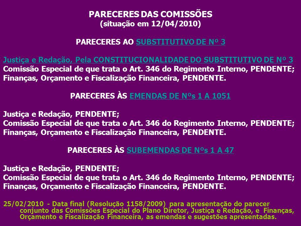 PARECERES DAS COMISSÕES (situação em 12/04/2010) PARECERES AO SUBSTITUTIVO DE Nº 3SUBSTITUTIVO DE Nº 3 Justiça e Redação, Pela CONSTITUCIONALIDADE DO