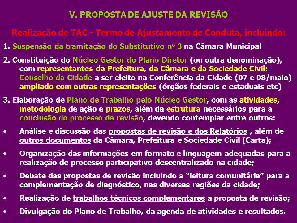 V. PROPOSTA DE AJUSTE DA REVISÃO Realização de TAC - Termo de Ajustamento de Conduta, incluindo: 1. Suspensão da tramitação do Substitutivo n o 3 na C