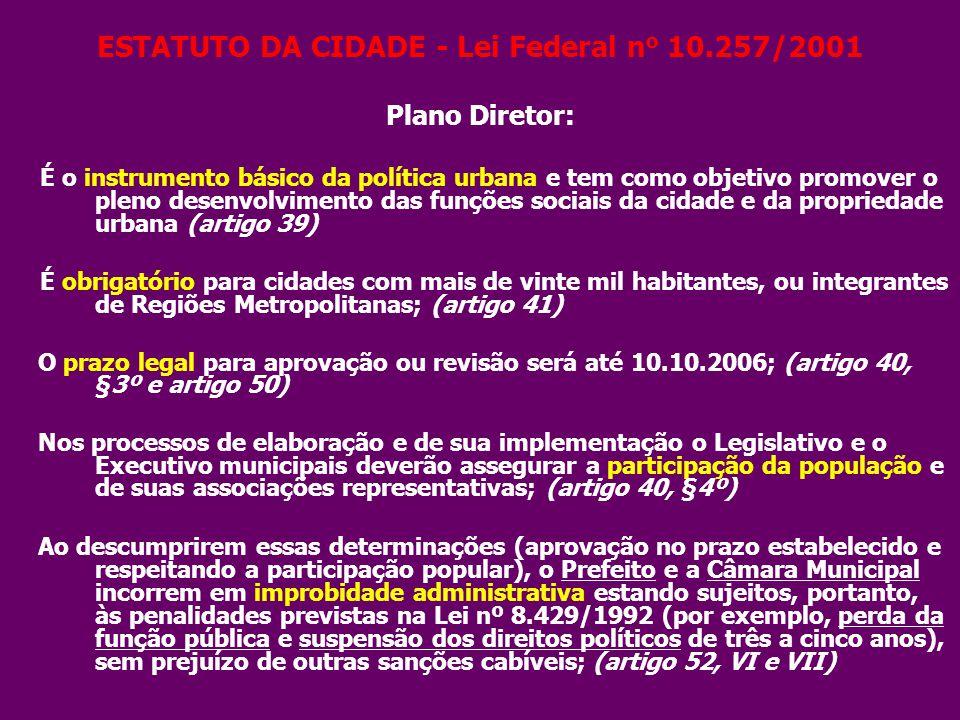 ESTATUTO DA CIDADE - Lei Federal n o 10.257/2001 Plano Diretor: É o instrumento básico da política urbana e tem como objetivo promover o pleno desenvo
