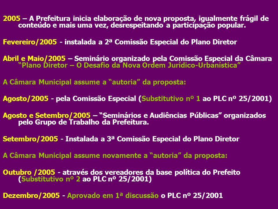 Janeiro/ 2006 – Câmara Municipal recebe relatório do IPP com informações para subsidiar a discussão do Plano Diretor Abril /2006 - Instalada a 4ª Comissão Especial do Plano Diretor Outubro/2006 – autoria de nova proposta pelo Prefeito: Substitutivo nº 3 ao PLC nº 25/2001, com conteúdo idêntico ao Substitutivo 2.