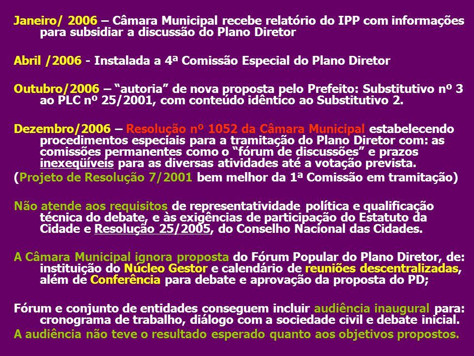 Janeiro/ 2006 – Câmara Municipal recebe relatório do IPP com informações para subsidiar a discussão do Plano Diretor Abril /2006 - Instalada a 4ª Comi