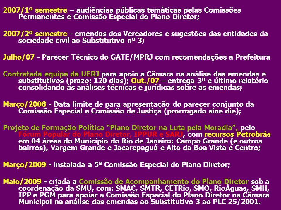 2007/1º semestre – audiências públicas temáticas pelas Comissões Permanentes e Comissão Especial do Plano Diretor; 2007/2º semestre - emendas dos Vere