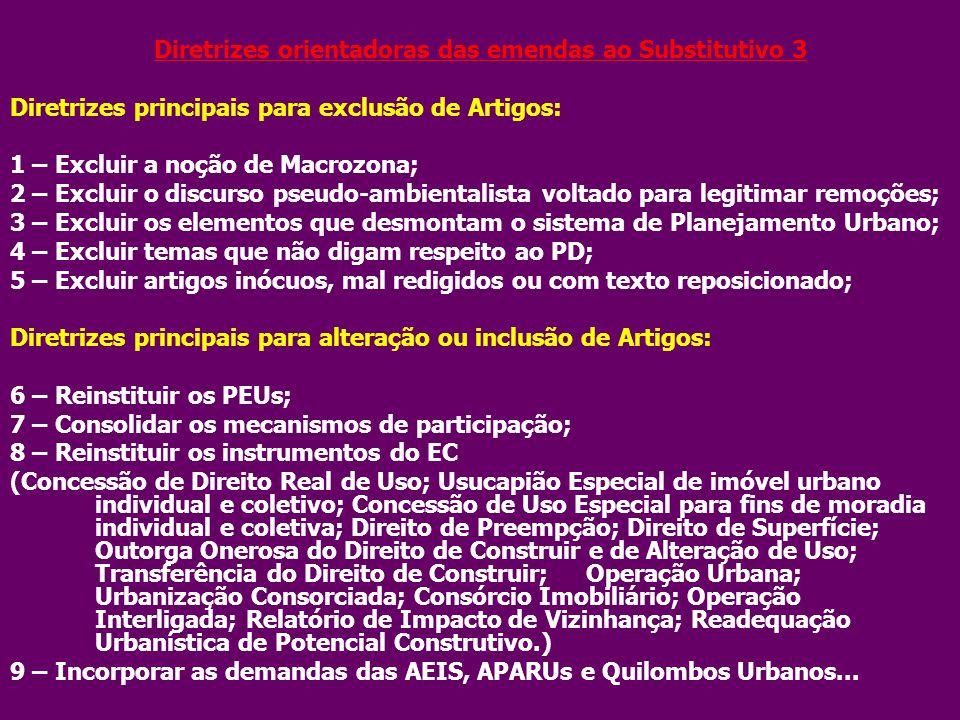 Diretrizes orientadoras das emendas ao Substitutivo 3 Diretrizes principais para exclusão de Artigos: 1 – Excluir a noção de Macrozona; 2 – Excluir o