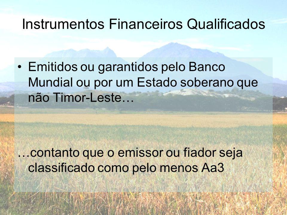 Instrumentos Financeiros Qualificados •Emitidos ou garantidos pelo Banco Mundial ou por um Estado soberano que não Timor-Leste… …contanto que o emisso