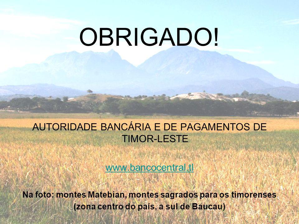 OBRIGADO! AUTORIDADE BANCÁRIA E DE PAGAMENTOS DE TIMOR-LESTE www.bancocentral.tl Na foto: montes Matebian, montes sagrados para os timorenses (zona ce