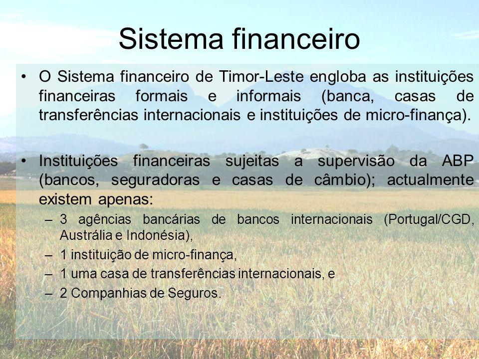 Sistema financeiro •O Sistema financeiro de Timor-Leste engloba as instituições financeiras formais e informais (banca, casas de transferências intern
