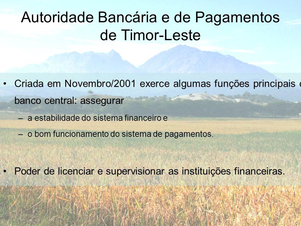 Autoridade Bancária e de Pagamentos de Timor-Leste •Criada em Novembro/2001 exerce algumas funções principais de banco central: assegurar –a estabilid