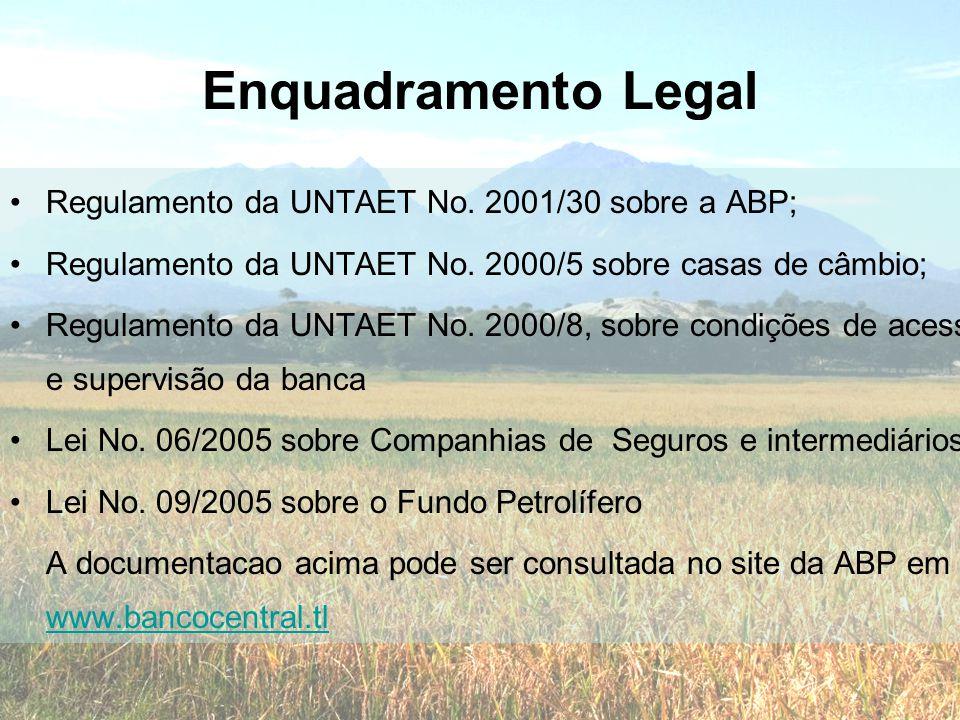 Enquadramento Legal •Regulamento da UNTAET No. 2001/30 sobre a ABP; •Regulamento da UNTAET No. 2000/5 sobre casas de câmbio; •Regulamento da UNTAET No