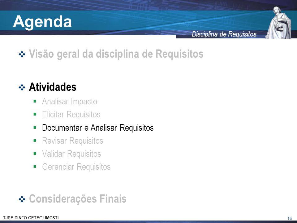 TJPE.DINFO.GETEC.UMCSTI Disciplina de Requisitos Agenda  Visão geral da disciplina de Requisitos  Atividades  Analisar Impacto  Elicitar Requisito