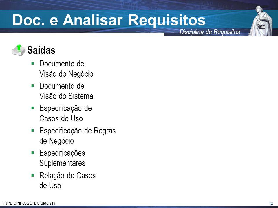 TJPE.DINFO.GETEC.UMCSTI Disciplina de Requisitos Doc. e Analisar Requisitos  Saídas  Documento de Visão do Negócio  Documento de Visão do Sistema 