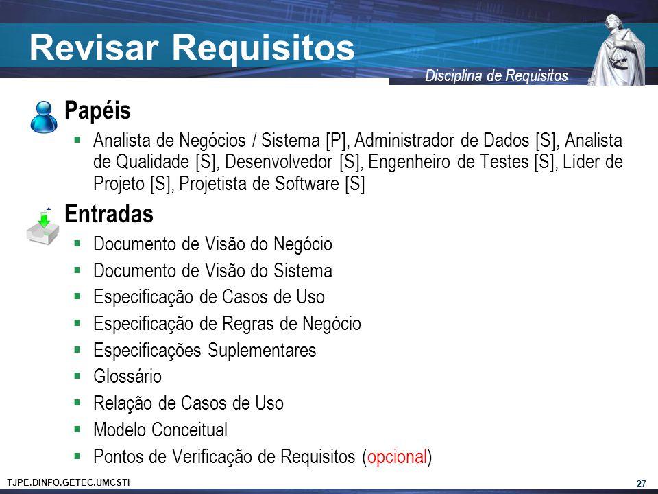 TJPE.DINFO.GETEC.UMCSTI Disciplina de Requisitos Revisar Requisitos  Papéis  Analista de Negócios / Sistema [P], Administrador de Dados [S], Analist