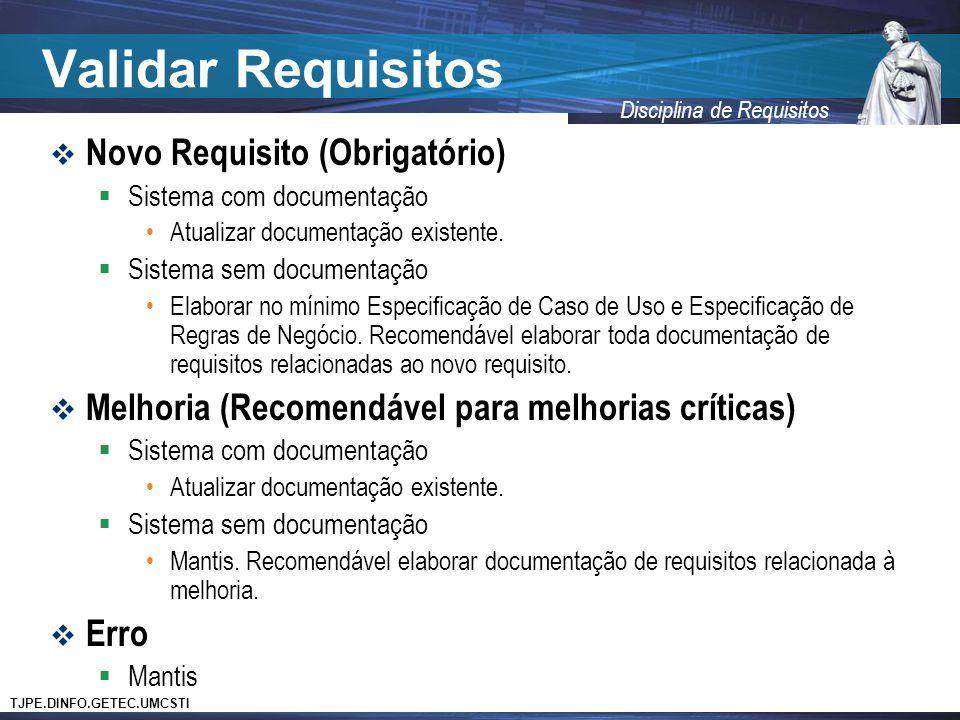 TJPE.DINFO.GETEC.UMCSTI Disciplina de Requisitos Validar Requisitos  Novo Requisito (Obrigatório)  Sistema com documentação •Atualizar documentação
