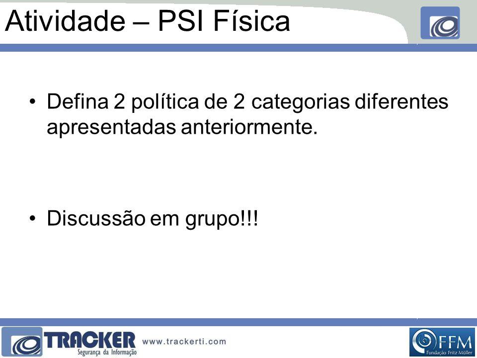Atividade – PSI Física •Defina 2 política de 2 categorias diferentes apresentadas anteriormente. •Discussão em grupo!!!