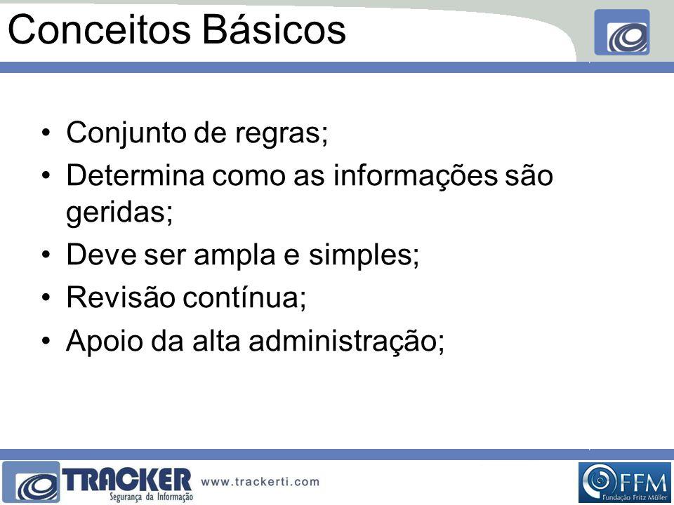 Conceitos Básicos •Conjunto de regras; •Determina como as informações são geridas; •Deve ser ampla e simples; •Revisão contínua; •Apoio da alta administração;