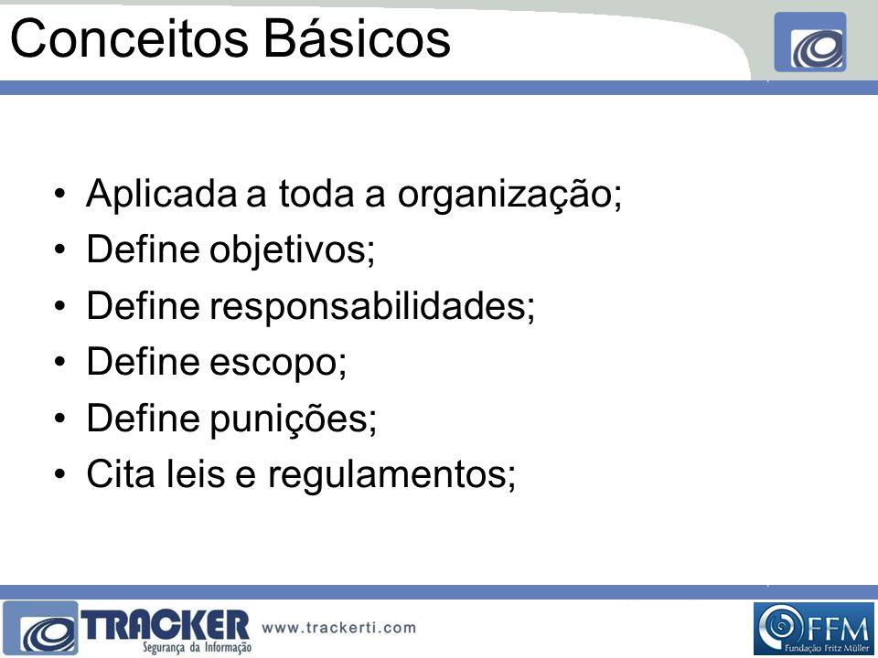 Conceitos Básicos •Aplicada a toda a organização; •Define objetivos; •Define responsabilidades; •Define escopo; •Define punições; •Cita leis e regulamentos;