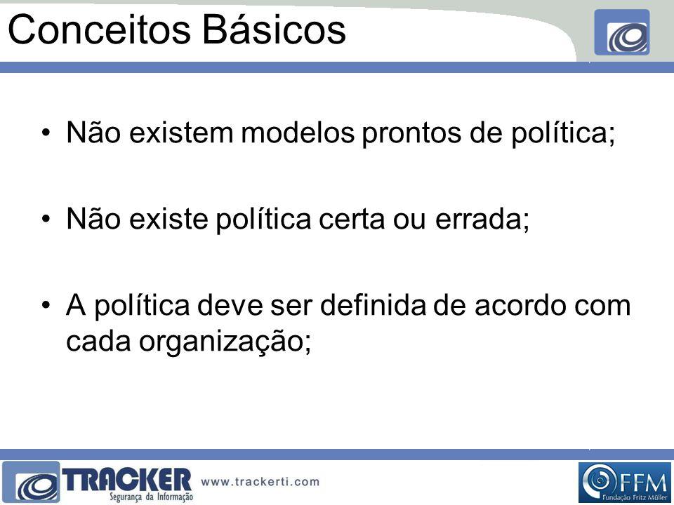 Conceitos Básicos •Não existem modelos prontos de política; •Não existe política certa ou errada; •A política deve ser definida de acordo com cada organização;