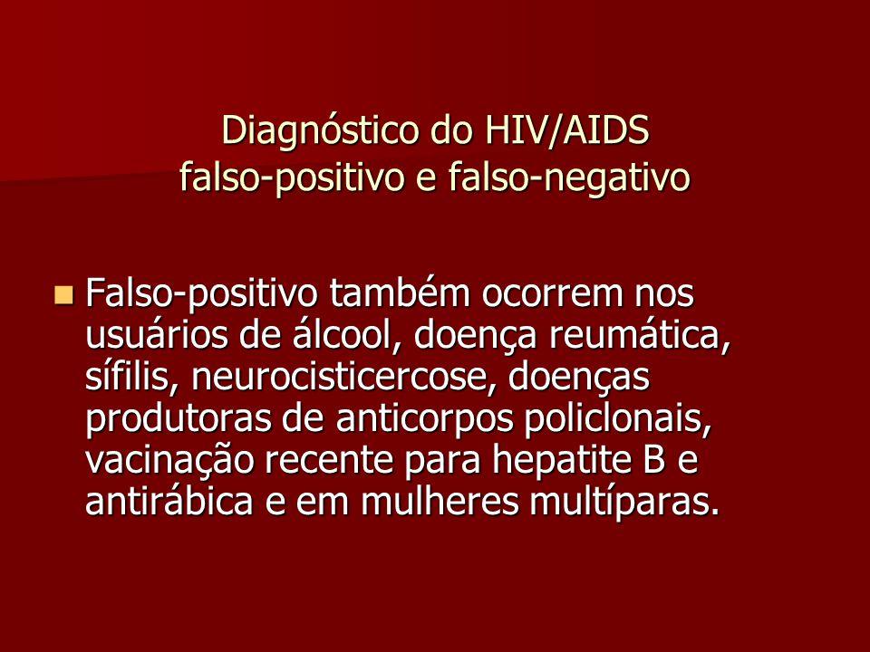 Diagnóstico do HIV/AIDS falso-positivo e falso-negativo  Falso-positivo também ocorrem nos usuários de álcool, doença reumática, sífilis, neurocisticercose, doenças produtoras de anticorpos policlonais, vacinação recente para hepatite B e antirábica e em mulheres multíparas.