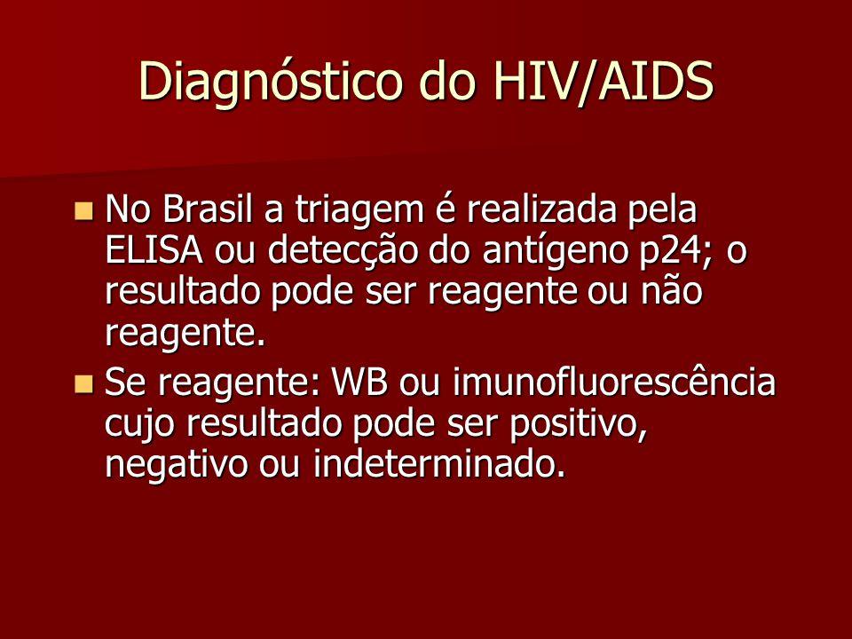 Diagnóstico do HIV/AIDS  No Brasil a triagem é realizada pela ELISA ou detecção do antígeno p24; o resultado pode ser reagente ou não reagente.
