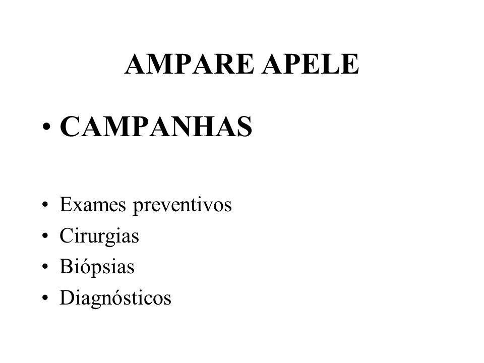 AMPARE APELE •CAMPANHAS •Exames preventivos •Cirurgias •Biópsias •Diagnósticos