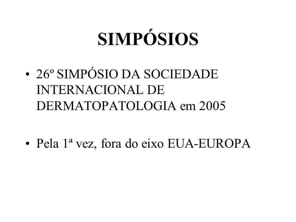 SIMPÓSIOS •26º SIMPÓSIO DA SOCIEDADE INTERNACIONAL DE DERMATOPATOLOGIA em 2005 •Pela 1ª vez, fora do eixo EUA-EUROPA