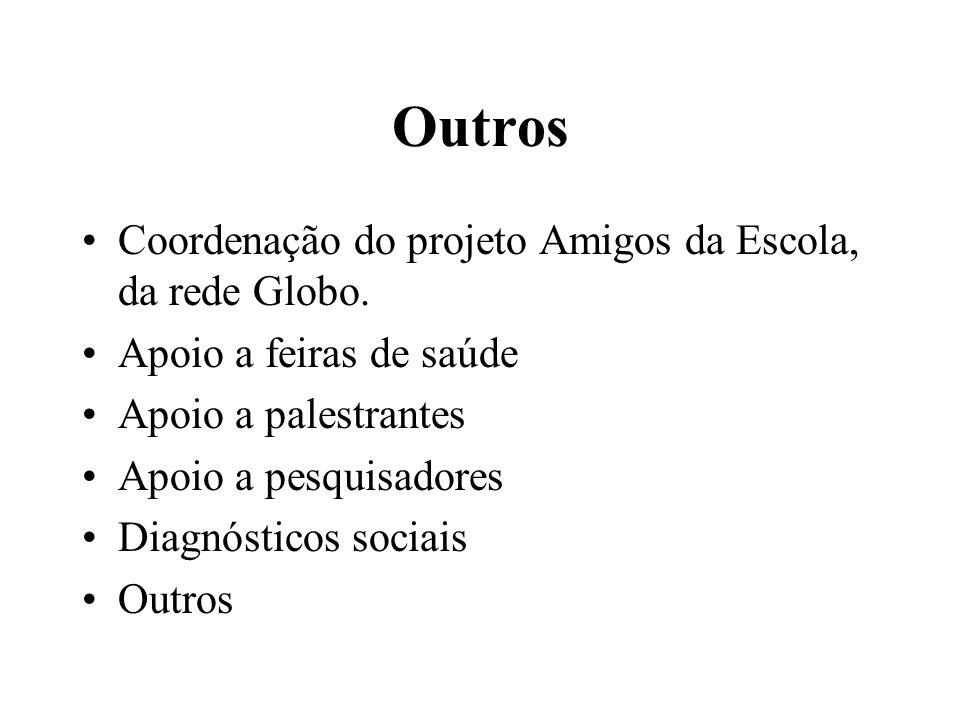 Outros •Coordenação do projeto Amigos da Escola, da rede Globo. •Apoio a feiras de saúde •Apoio a palestrantes •Apoio a pesquisadores •Diagnósticos so
