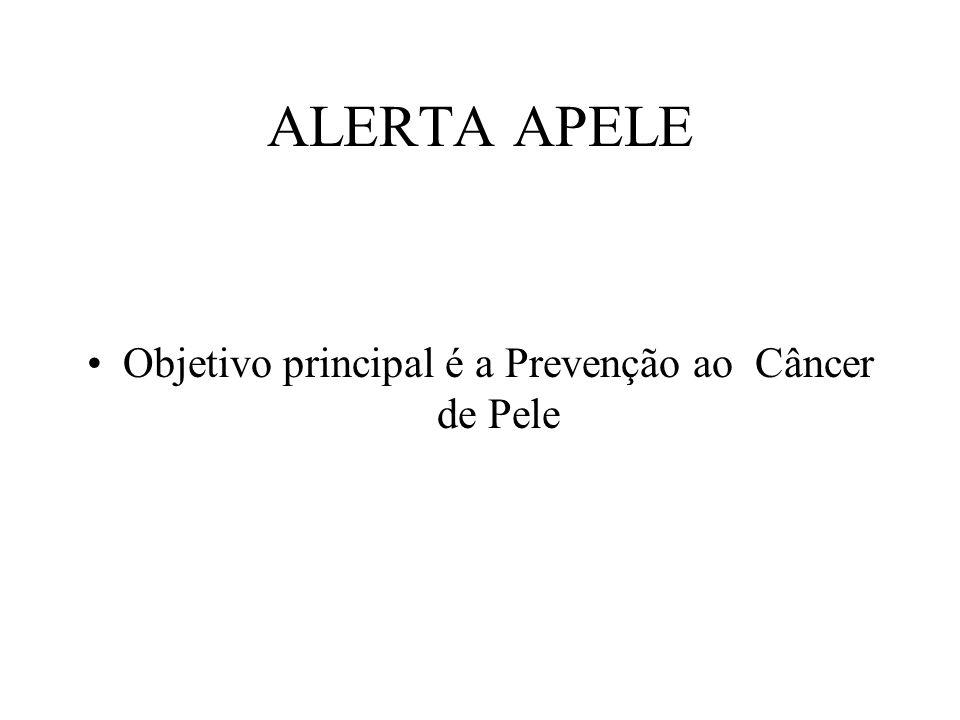 ALERTA APELE •Objetivo principal é a Prevenção ao Câncer de Pele