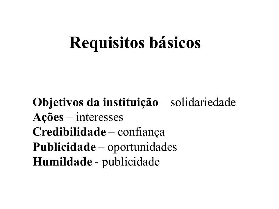 Objetivos da instituição – solidariedade Ações – interesses Credibilidade – confiança Publicidade – oportunidades Humildade - publicidade Requisitos b