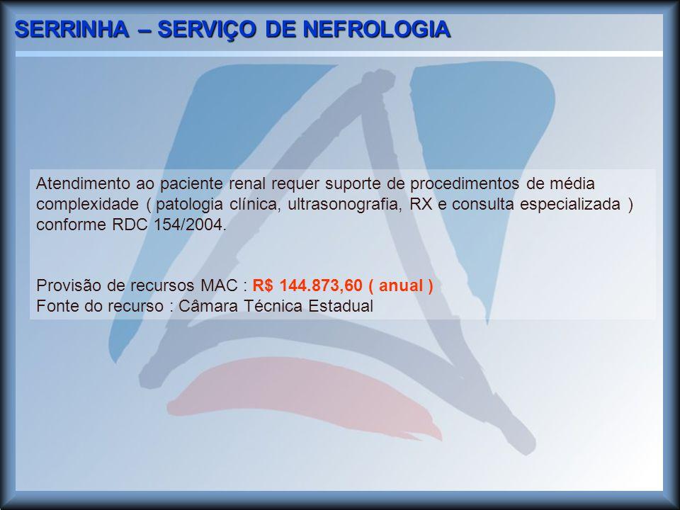 SERRINHA – SERVIÇO DE NEFROLOGIA Atendimento ao paciente renal requer suporte de procedimentos de média complexidade ( patologia clínica, ultrasonografia, RX e consulta especializada ) conforme RDC 154/2004.