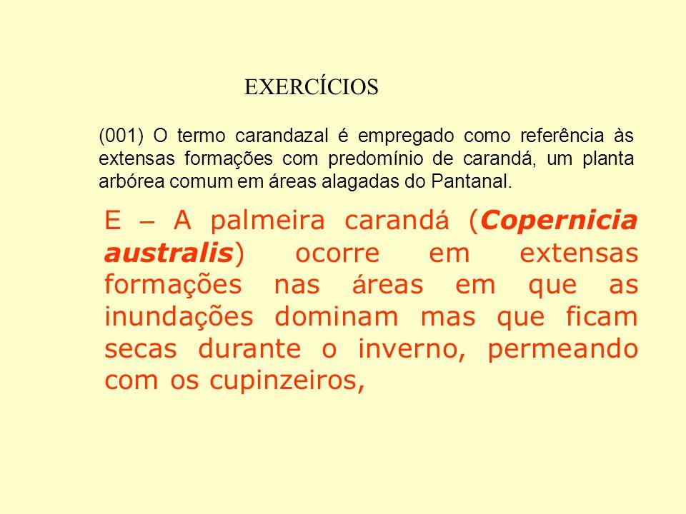 EXERCÍCIOS 1) (UFMS-2003) A vegetação do Pantanal exibe uma influência determinante de outros biomas colocados no seu entorno, embora algumas caracter
