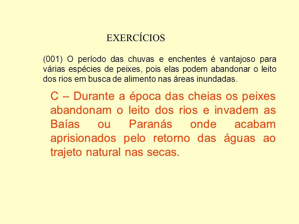 EXERCÍCIOS 2) (UFMS-2003) O Pantanal Mato-Grossense tem um histórico de ocupação humana de pouco de mais de 200 anos, existindo, na atualidade, como u