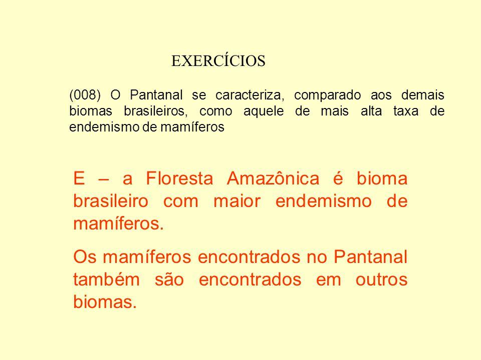 EXERCÍCIOS (004) Aves paludícolas comuns na região (tuiuiú, cabeça-seca, garças) alimentam-se principalmente dos peixes que ficam concentrados nos amb
