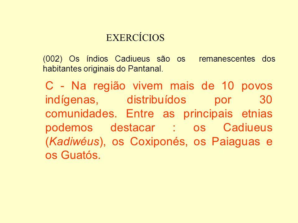 EXERCÍCIOS (001) A origem submarina dos terrenos do Pantanal é testemunhada pelos fósseis dos seres marinhos que lá são encontrados. C – Há cerca de 1