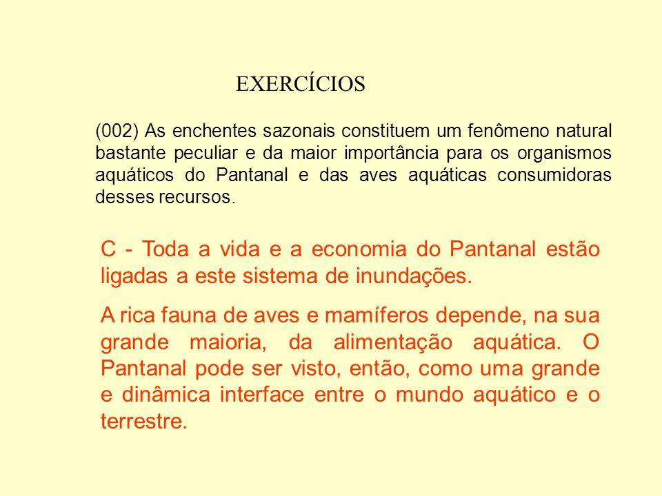 EXERCÍCIOS (001) Além de ocupar parte do território dos Estados de Mato Grosso e Mato Grosso do Sul, estende-se ainda em áreas menores no Paraguai, Bo