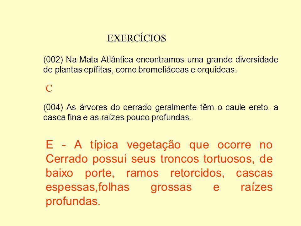 EXERCÍCIOS (001) A Floresta Amazônica apresenta vários estratos vegetais com as copas das árvores mais altas podendo atingir de 30 a 40 metros acima d