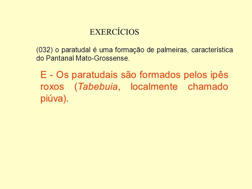 EXERCÍCIOS (008) regionalmente, as lagoas de água doce do Pantanal Mato-Grossense, são denominadas baías. (016) no Pantanal Mato-Grossense formam-se g