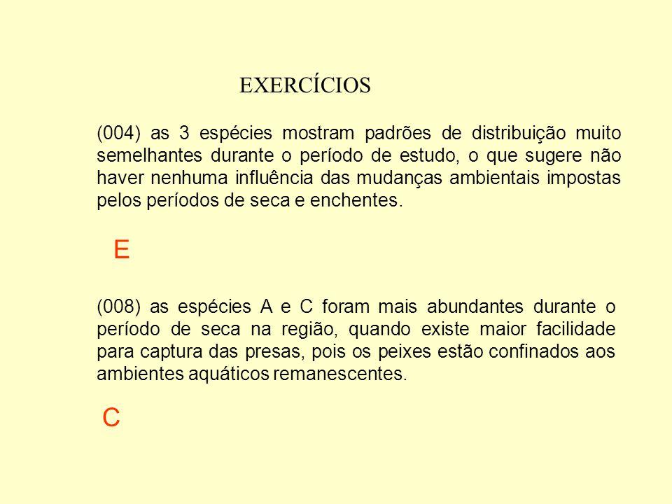 EXERCÍCIOS Com base nessas informações, é correto afirmar que (001) as 3 espécies ocorreram com as mesmas freqüências nos diferentes ambientes aquátic