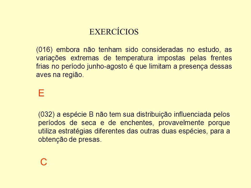 EXERCÍCIOS (004) as 3 espécies mostram padrões de distribuição muito semelhantes durante o período de estudo, o que sugere não haver nenhuma influênci