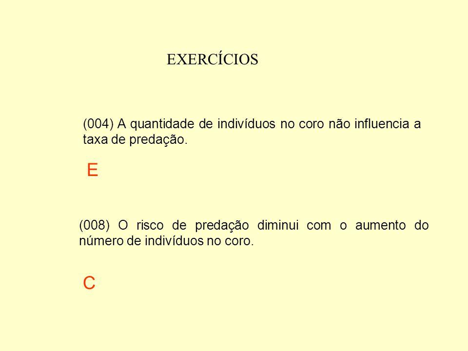Após a análise do gráfico abaixo, assinale a(s) proposição(ões) que está(ão) correta(s). (001) O risco de predação aumenta à medida que aumenta o núme