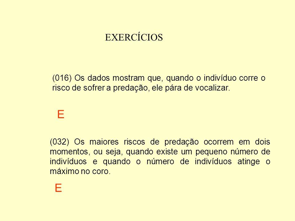 EXERCÍCIOS (004) A quantidade de indivíduos no coro não influencia a taxa de predação. (008) O risco de predação diminui com o aumento do número de in