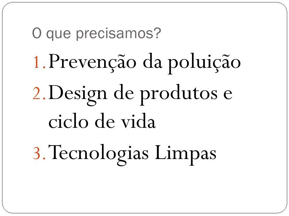 O que precisamos? 1. Prevenção da poluição 2. Design de produtos e ciclo de vida 3. Tecnologias Limpas