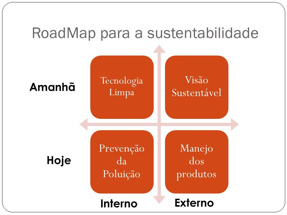 RoadMap para a sustentabilidade Tecnologia Limpa Visão Sustentável Prevenção da Poluição Manejo dos produtos Amanhã Hoje Interno Externo