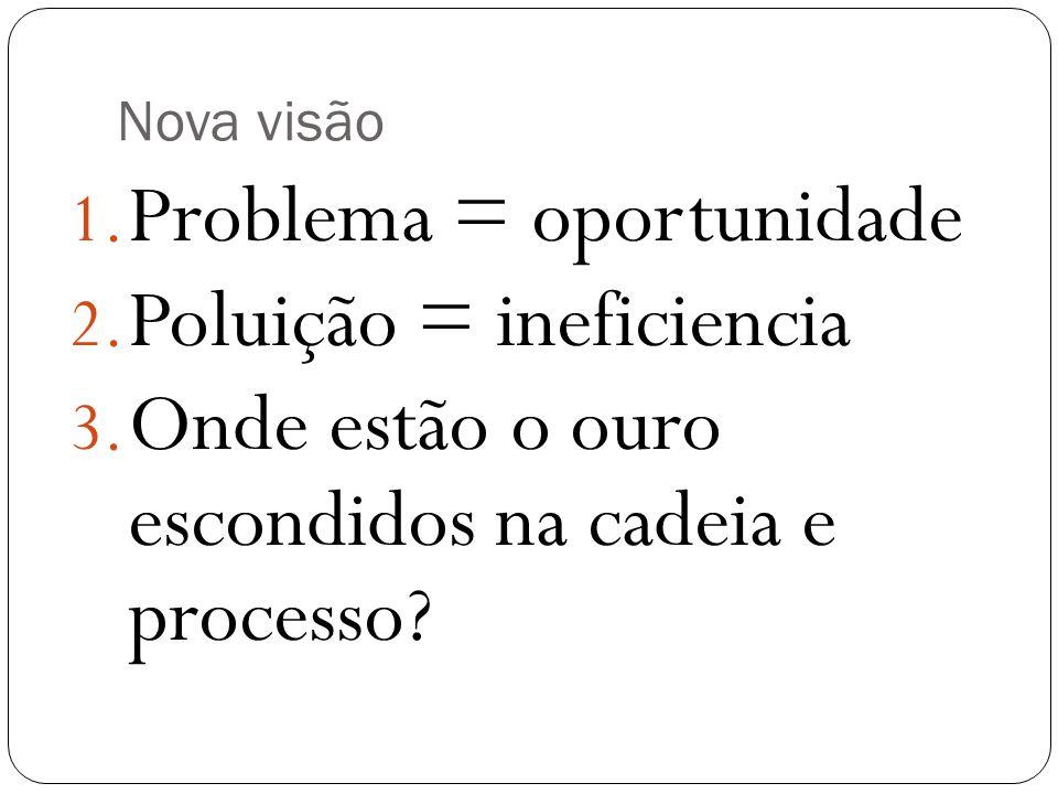 Nova visão 1. Problema = oportunidade 2. Poluição = ineficiencia 3. Onde estão o ouro escondidos na cadeia e processo?